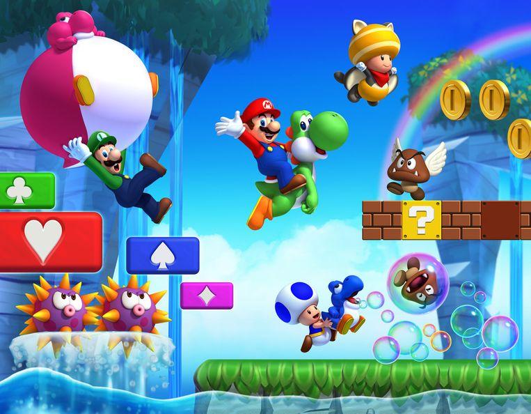 In 'New Super Mario Bros. U' kan de speler met de tabletcontroller extra blokjes tevoorschijn toveren.