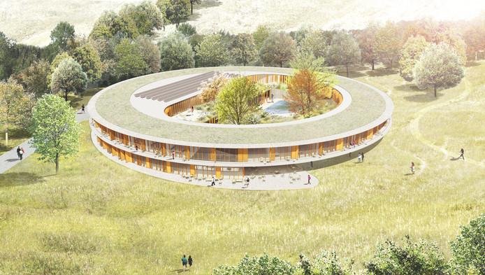 Het paviljoen waar het Zorghotel wordt gehuisvest, komt helemaal los te staan van De Zwanenhof zelf. Zowel fysiek als qua vormgeving. Het is de bedoeling dat het opgaat in de groene omgeving. impressie IAA Architecten BV