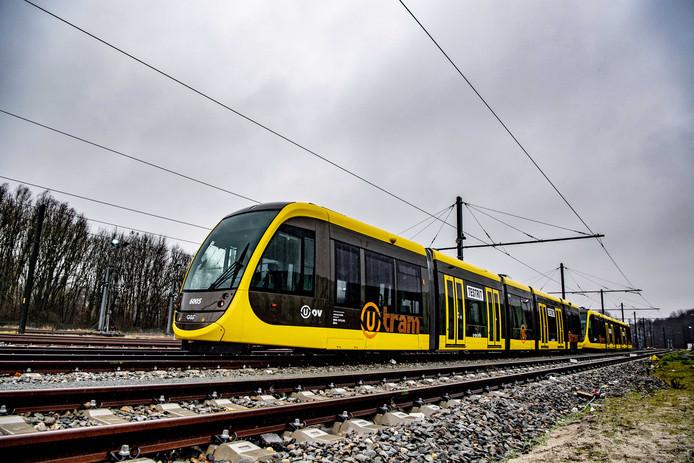 Een van de trams van de Uithoflijn.