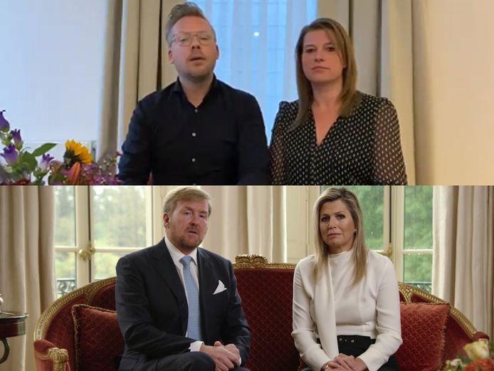 De Woerdense horecaondernemers Martijn Gerits en vriendin Puck Gras doen een parodie op de toespraak van koning Willem-Alexander en koningin Máxima.