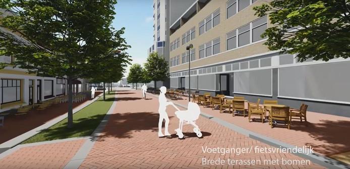 Impressie van de mogelijk nieuwe indeling van het Veerplein in Zwijndrecht