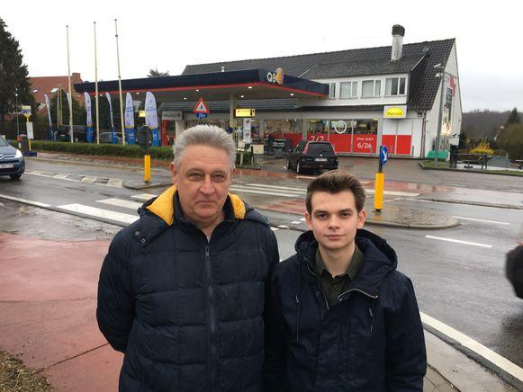 Marc Buekenhout en Thomas Geyns van Open Tervuren lanceren acht maatregelen voor het kruispunt aan het tankstation langs de Leuvensesteenweg.
