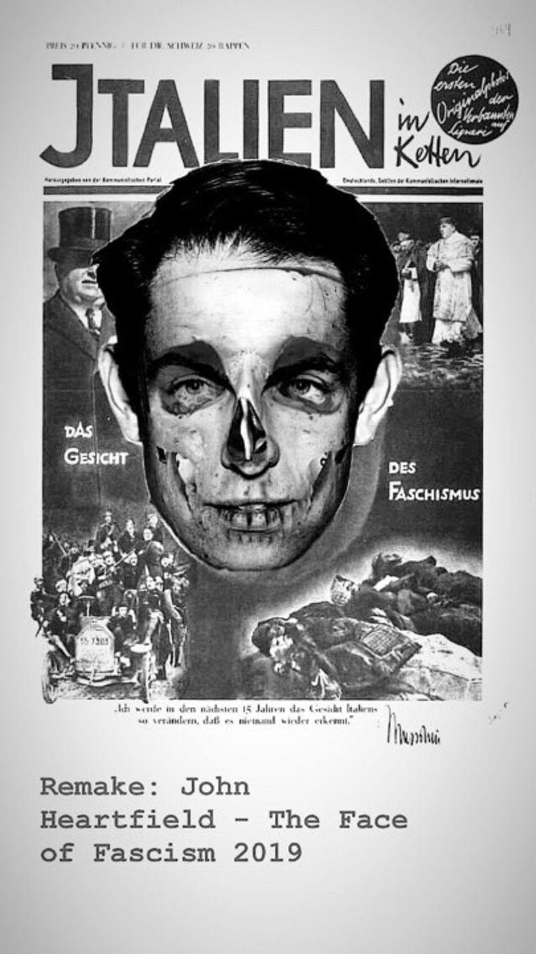 Remake van propagandaposter Mussolini
