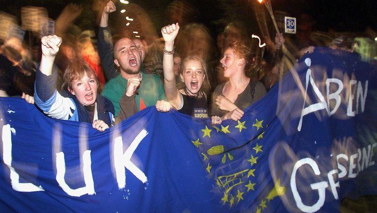 Denen zeggen nee tegen deelname van hun land aan de euro, september 2000 Beeld epa
