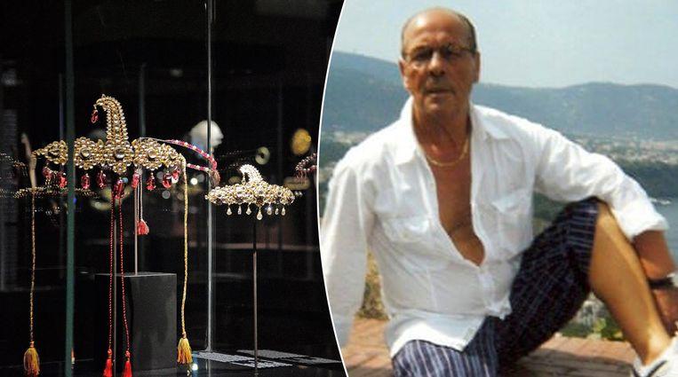 Een foto van enkele van de juwelen uit de Al Thani-collectie. Rechts meesterdief Vincenzo Pipino.