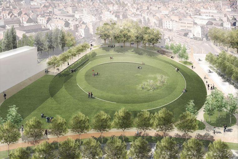 Een impressie van hoe het park aan de Ninoofsepoort er zal uitzien in de toekomst.