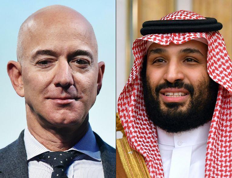 Jeff Bezos (links) en de Saudische kroonprins Mohammed bin Salman.  Beeld AFP