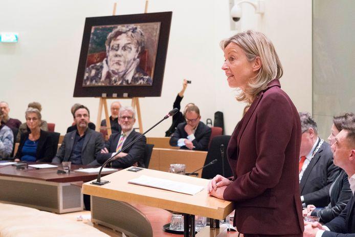 Minister van Binnenlandse Zaken Kaja Ollongren spreekt de Ien Dales Lezing uit, vrijdagavond op het stadhuis van Nijmegen.