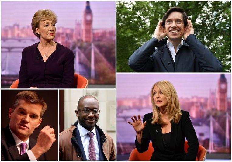 Bovenaan Andrea Leadsom en Rory Stewart, onderaan Mark Harper, Sam Gyimah en Esther McVey.
