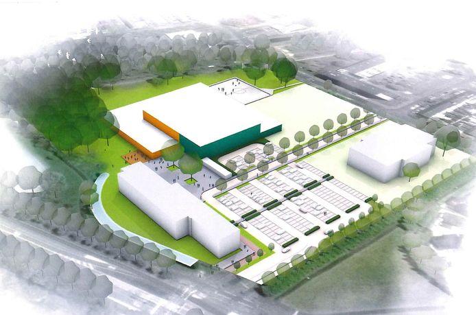 Een artist impression van hoe het terrein van het Curio College (tot voor kort Vitalis) er in 2022 uit zou kunnen zien, met linksachter het Talentencentrum.