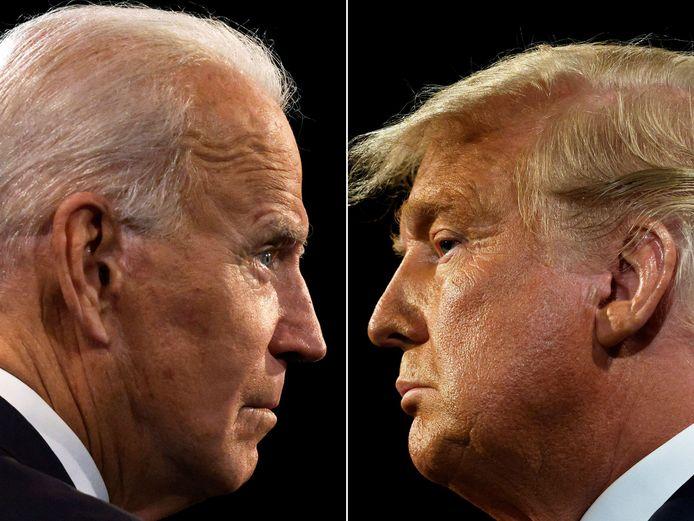 President-elect Joe Biden (links) en afscheidnemend president Donald Trump