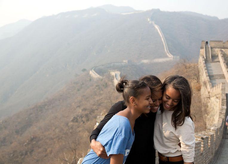 Michelle Obama en haar dochters Malia en Sasha.