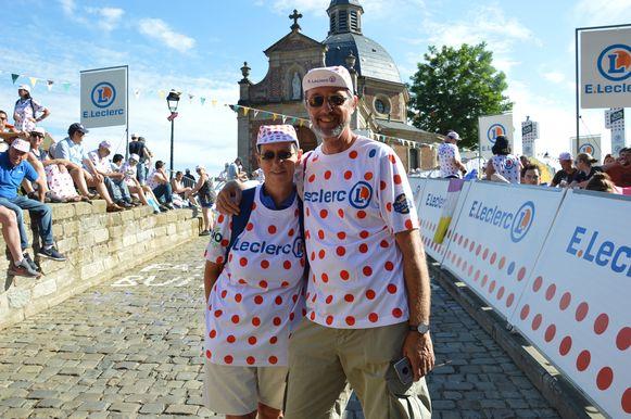 Tour de France in Geraardsbergen - Eric Michiels en Lief Eskens op de Kapelmuur.