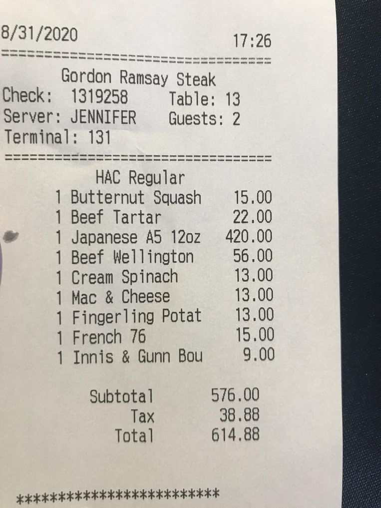 De rekening die de klant kreeg gepresenteerd.