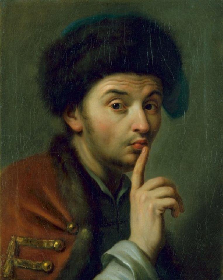 Man met bontmuts en de rechter wijsvinger geheven, Pietro Antonio Graf Rotari, 1755. Beeld null
