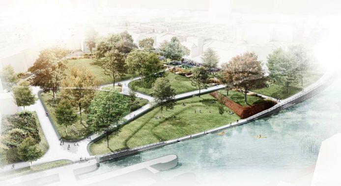 Zo moet het Baudelopark er tegen eind dit jaar uitzien. Merk op dat er door het park fiets- en voetpaden zullen lopen.