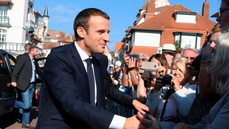 De Franse president Emmanuel Macron in het Noord-Franse Le Touquet. Beeld afp