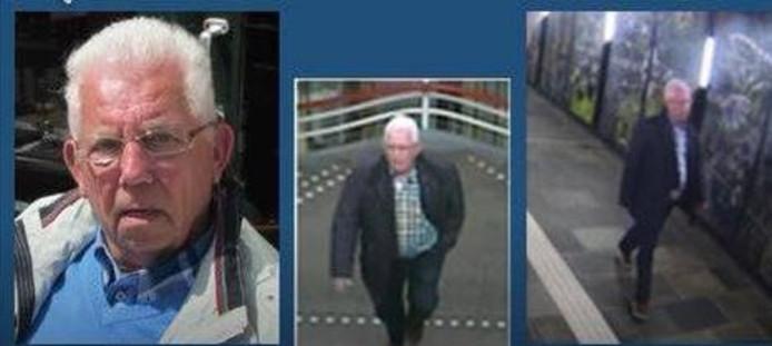 De vermiste Dirk van den Belt te zien op een pasfoto en op camerabeelden van de stations Duivendrecht en Alkmaar (vlnr).