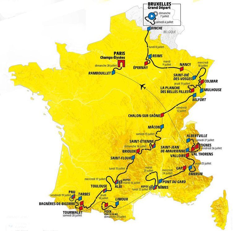 Het parcours van de Tour de France 2019 Beeld