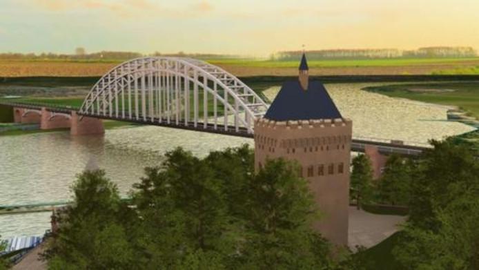 Voorstelling van de donjon in het Valkhofpark in Nijmegen.