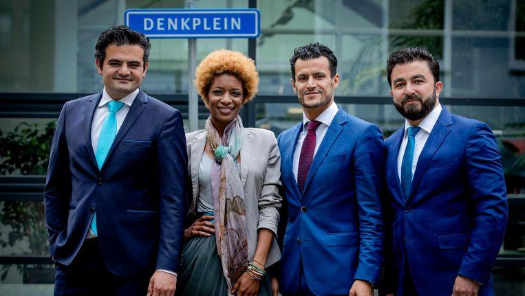 Groepsfoto van Tunahan Kuzu, Sylvana Simons, Farid Azarkan en Selcuk Ozturk, onderdeel van de politieke beweging DENK Beeld anp