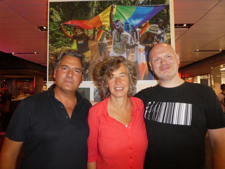 Team Pride Photo: curator Gijs Stork, voorzitter Marjolijn Bronkhuyzen en coördinator Joeri Kempen: