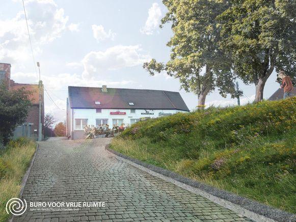 Een impressie van de vernieuwde Dries 't Nelleken: de gekende beuken prijken op de dries, de aanpalende straat wordt aangelegd in kasseien.