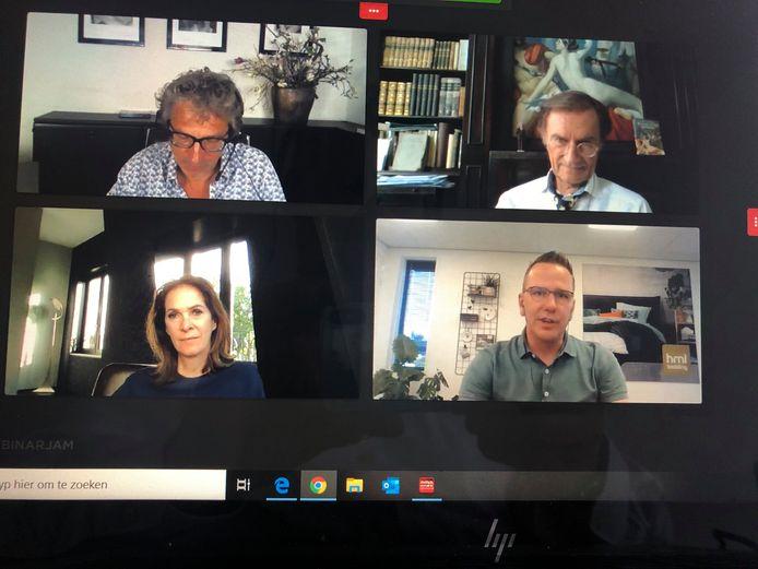 Beeld van de online talkshow met host Frénk van der Linden, René Diekstra, Annemarie van Gaal en de Schijndelse ondernemer Mark van Laarschot (van linksboven naar rechtsonder).
