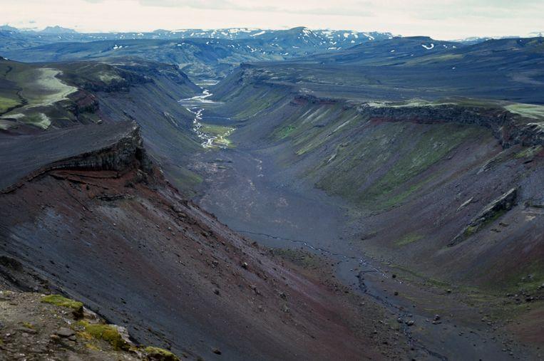 De kloof die hoort bij de vulkaan Eldgja, in het zuidelijke deel van IJsland. Beeld Hollandse Hoogte / Superstock, Inc.