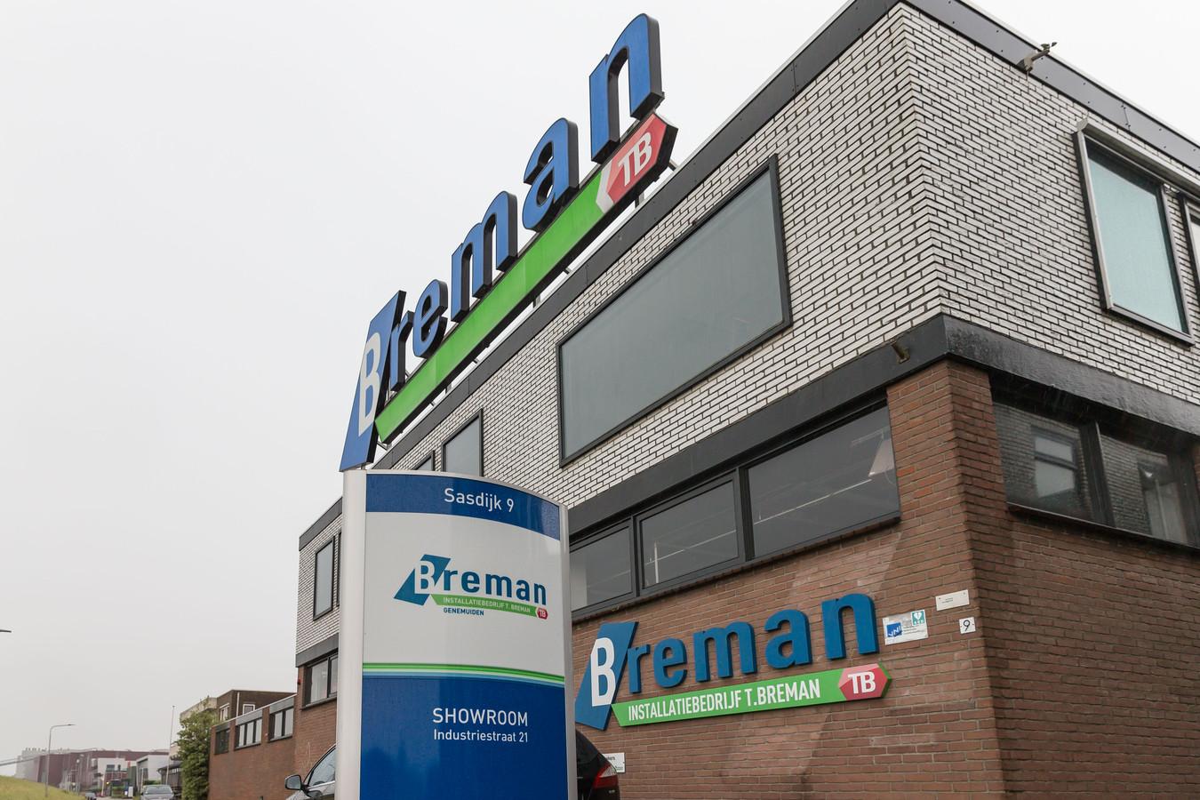 Het bedrijfspand van Breman TB in Genemuiden aan de Sasdijk.