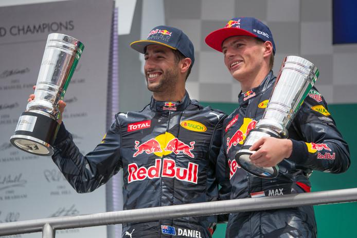 Dit seizoen teamgenoten, maar volgend jaar niet meer: Daniel Ricciardo en Max Verstappen.