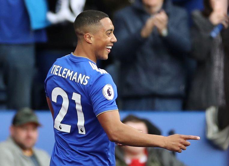 Youri Tielemans in het shirt van Leicester City.