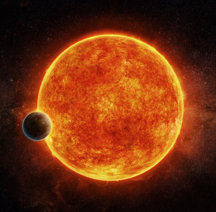 Super Aarde' LHS 1140b, hier getekend voor de dwergster LHS 1140, weegt ongeveer zeven keer zoveel als onze planeet.