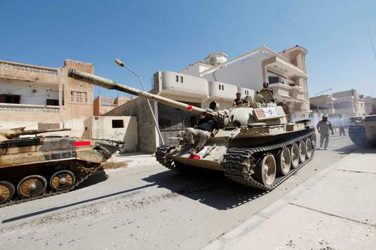 Libische strijdkrachten in Sirte.