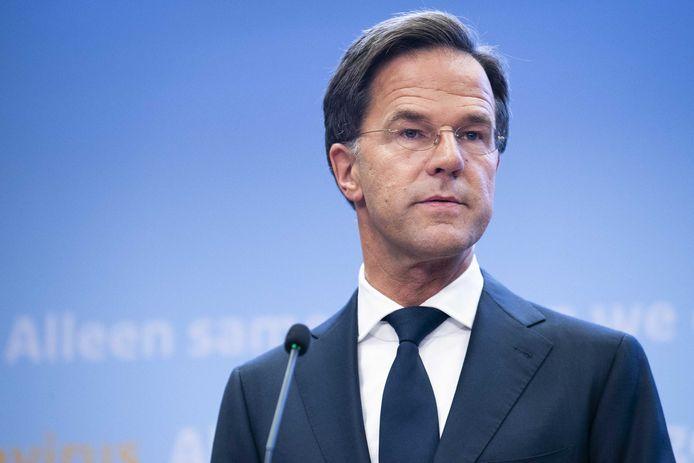 Premier Mark Rutte tijdens een persconferentie over de huidige stand van zaken omtrent het coronavirus in Nederland