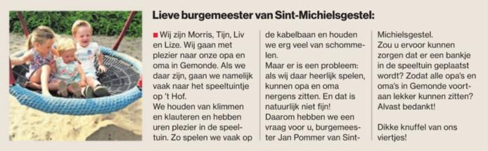De brief van de vier kinderen in het Brabants Dagblad van donderdag 13 juli.