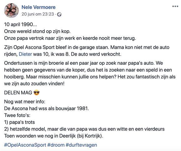 Nele en Dieter Vermoere zijn op zoek naar de Opel Ascona Sport (bouwjaar 1981) van hun vader die in 1990 overleed