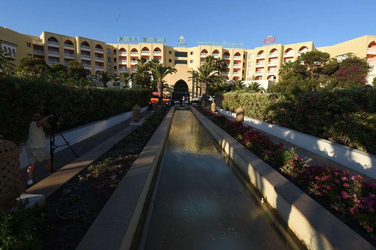 Het Imperial Marhaba hotel waar de aanslag plaats vond. Beeld afp