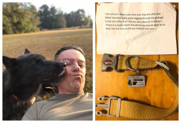 Baasje Chad Stricker met Nymeria. Het teefje is doodgeschoten, zo werd gemeld in een anoniem briefje.