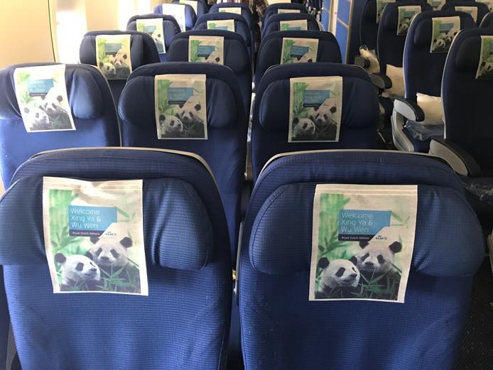 Op ieder hoofdsteuntje in het vliegtuig is een afbeelding te zien van de dieren.