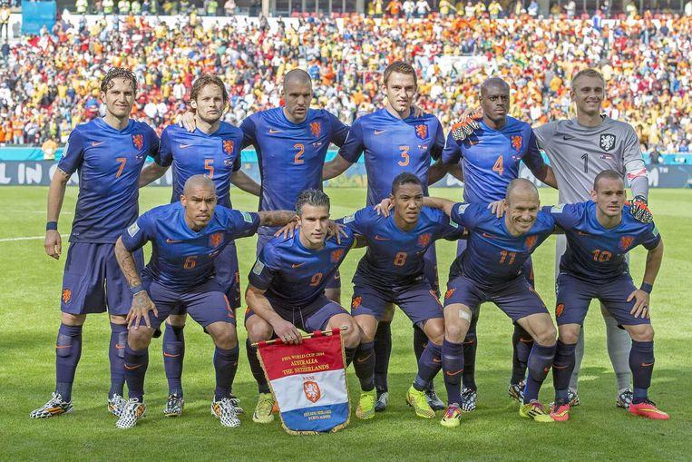 Nederland voor de wedstrijd tegen Australië. Beeld anp