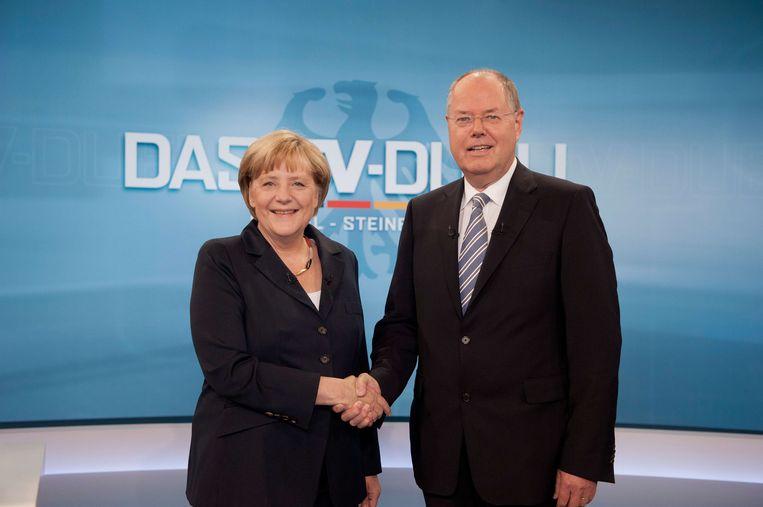Merkel en Steinbrück tijdens het tv-debat op zondag 1 september, Beeld anp