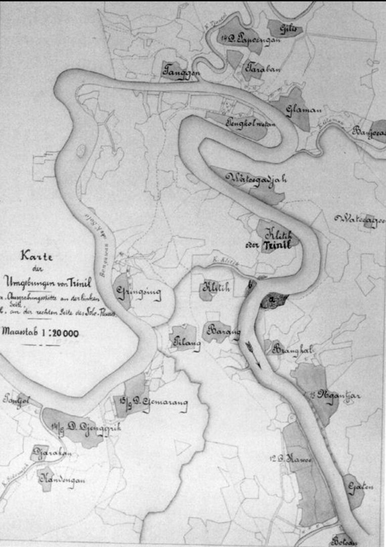 De route die Dubois volgde in langs de rivier Solo in Trinil. copyright Naturalis Beeld TRBEELD
