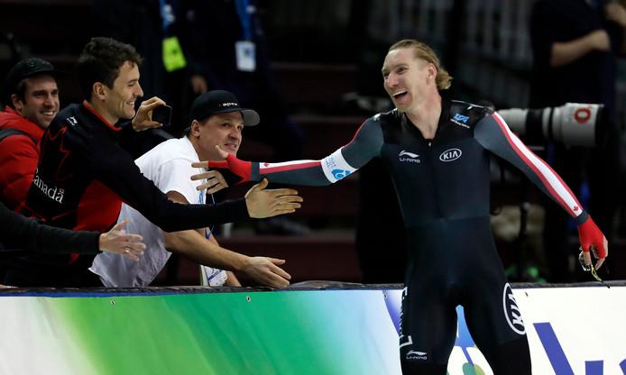 Ted-Jan Bloemen na het rijden van het wereldrecord op de 5000 meter eind vorig jaar.