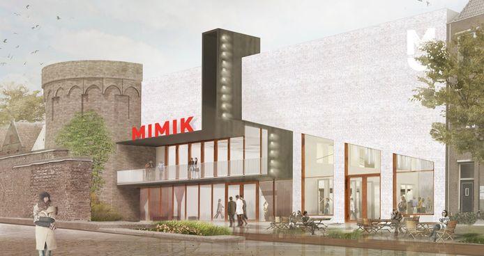 Impressie van de gevel van de nieuwbouw aan de IJssel, als het filmtheater volgend voorjaar na jaren van vertraging en tegenslagen bij de bouw eindelijk klaar moet zijn.