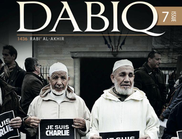 Fragment van de omslag van de nieuwe editie van IS-glossy. Beeld Dabiq
