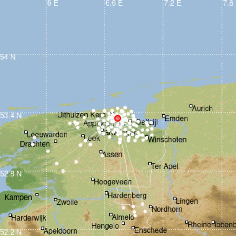 Het epicentrum van de beving lag bij Loppersum.  Beeld KNMI