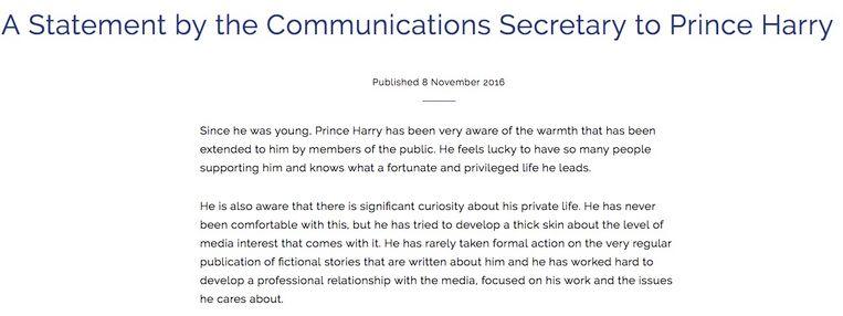 Eerste deel van de officiële verklaring van Prins Harry.