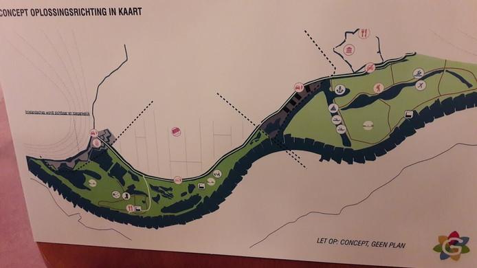Eén van de zes concept-ideeën. Deze heeft een watersportlocatie langs de Pabstsendam, vanaf de zwaaikom van de Rijnhaven bijna tot aan de Rijn bij Wolfswaard.