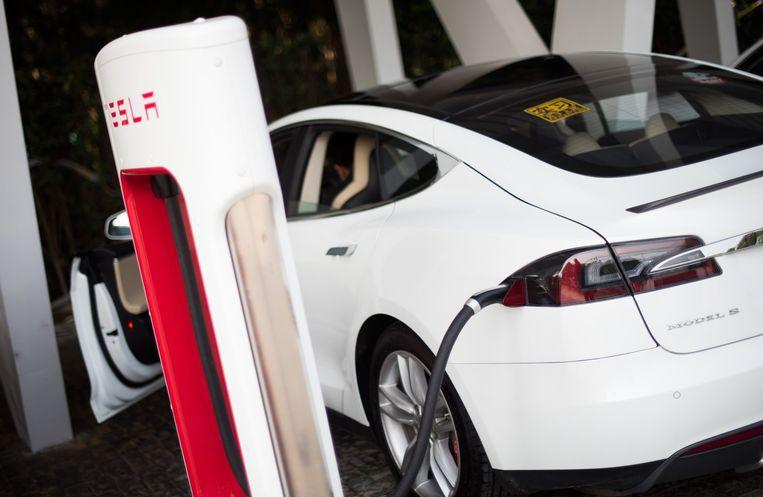 Een elektrische auto van Tesla. Beeld afp
